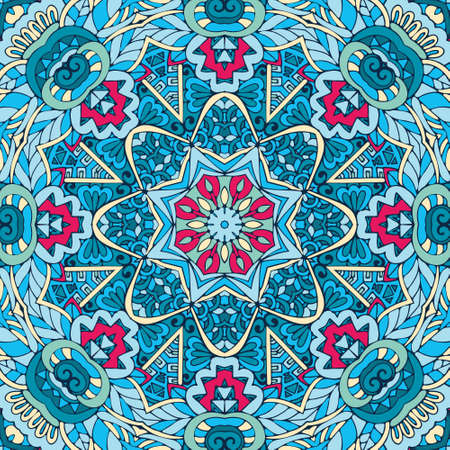Indian floral paisley medallion pattern with mandala in handdrawn doodle style
