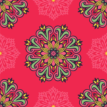 Damask vector festive yellow abstract seamless pattern Ilustração