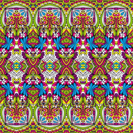 Vibrant festive colorful vector abstract geometric ethnic seamless doodle ornamental. Playful vivid textile design pattern