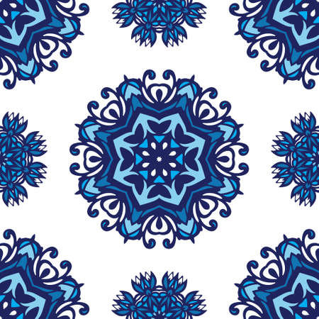 Classic damask ornament for wallpapers, textile, fabric, wrapping, wedding invitation. Decor tile texture print mosaic oriental pattern with blue ornament arabesque
