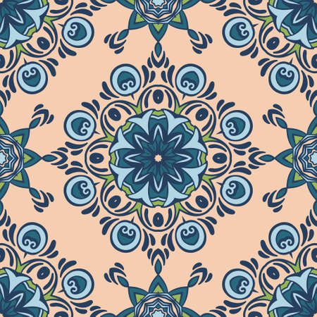 Seamless colorful patchwork tile with Islam, Arabic, Indian, ottoman motifs. Ceramic tile in talavera style. Vectores