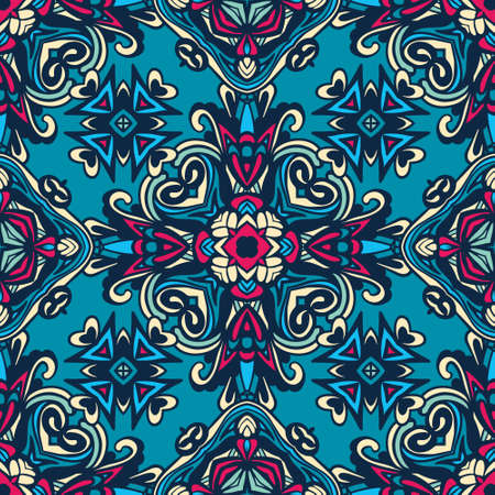 Abstract geometric floral colorful seamless pattern ornamental.