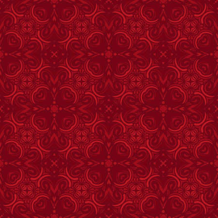 Vector red abstract Doodle Seamless Pattern Background.