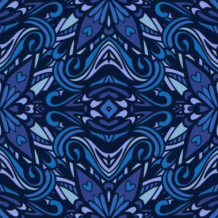 Blue abstract geometric mosaic vintage seamless pattern ornamental.