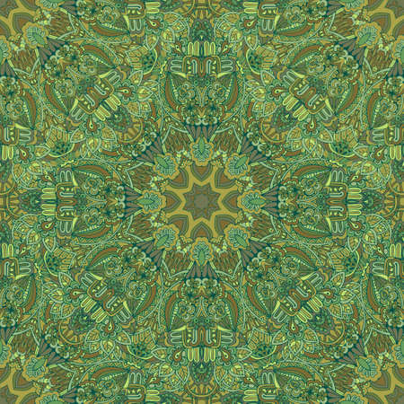 Abstract Green floral vector mandala ethnic tribal pattern Vectores
