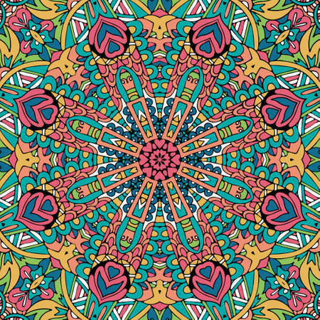 Mandala Hand drawn background. Oriental, Arabic, Indian, abstract doodle and floral motifs.