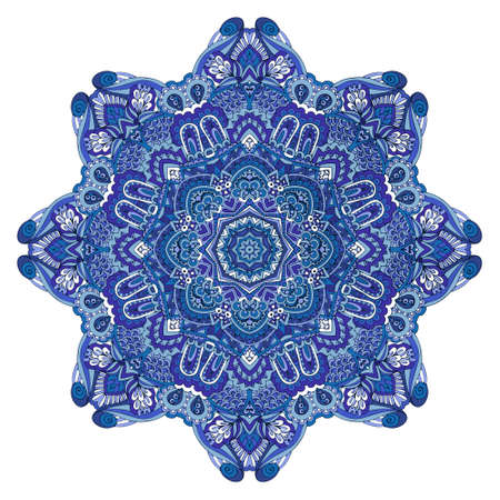 Star vector blue and white pattern with arabesques and floral elements. Vectores