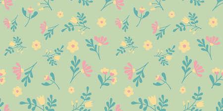 Cute mint floral pattern doodle vector seamless design