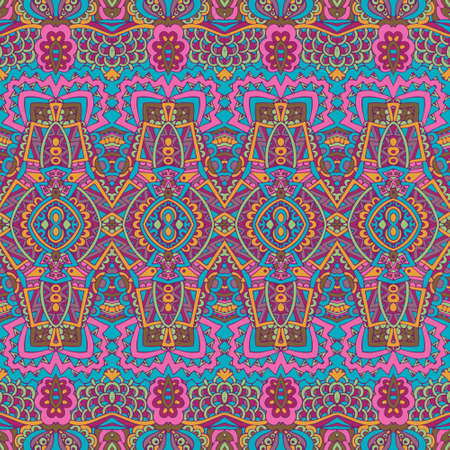 Vector seamless pattern flower colorful mexican art
