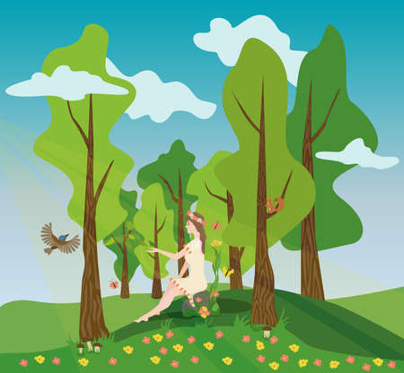 The girl who represents spring and summer sits on a rock in the middle of the forest, and fills the forest with blooming leaves and flowers, all the forest inhabitants come running to her, including a flying bird, a squirrel sitting on a tree and flying butterflies.