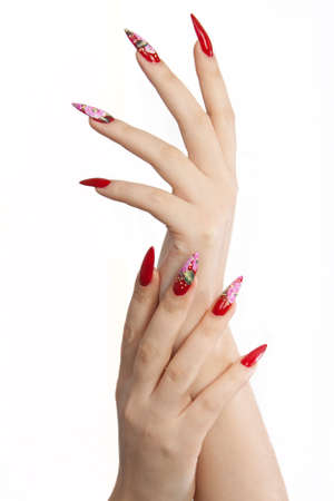 nail care: Hand with red long  nails, on white background