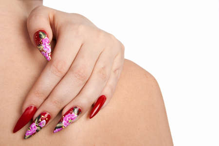 red nails: Hand of the girl with beautiful red nails