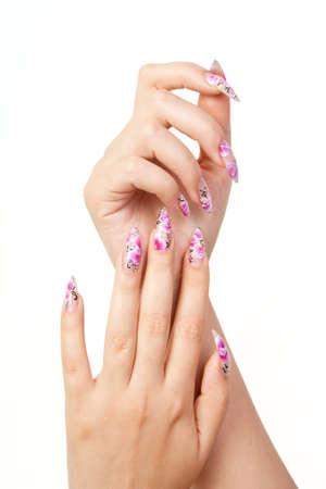 long nail: Due mani con le unghie belle lunghe, su sfondo bianco Archivio Fotografico