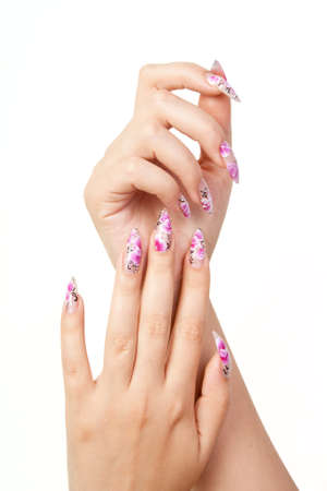 Two hands with long beautiful nails, on white background