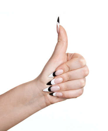 human fingernail: Woman hand with thumb up and long nails, on white background Stock Photo