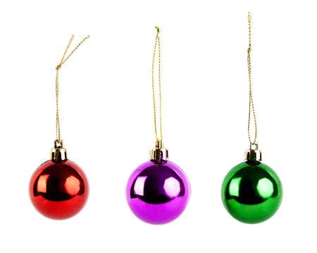 three christmas balls on white background Stock Photo