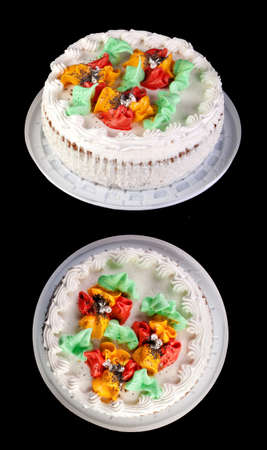 Cream cake on black background. Two foreshortenings