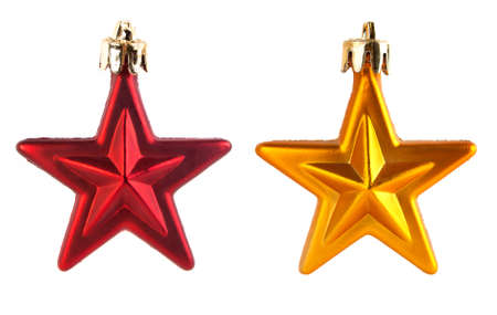 two christmas decorations on white background