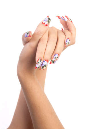 Two hands with beautiful nails unusual shape on white background Stock Photo - 10897142