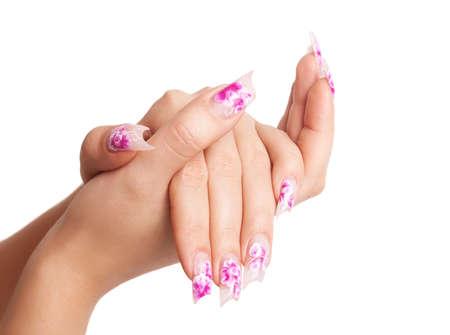 long nail: Due mani con una bella forma insolita unghie su sfondo bianco Archivio Fotografico