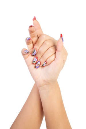 Two hands with beautiful nails unusual shape on white background