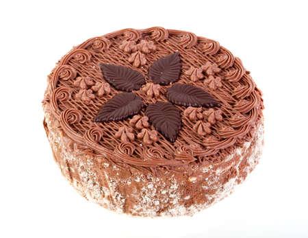 Cream cake on white background. Stock Photo