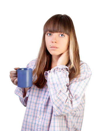 Portrait of beautiful young woman drinking coffee photo