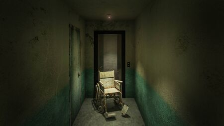 horror and creepy lift with wheelchair in the hospital .3D rendering