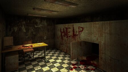 horror and creepy mortuary in the hospital and help blood.3D rendering