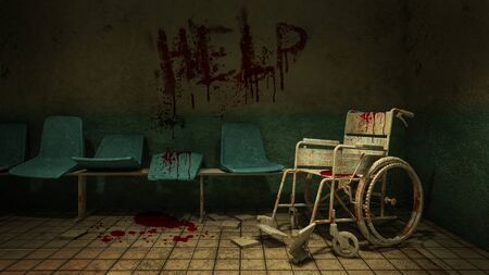 Horror and creepy seat waiting and wheelchair in front of the examination room in the hospital and help Blood .3D rendering Foto de archivo
