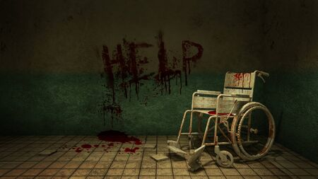 Horror and creepy walk way and wheelchair in front of the examination room in the hospital and help Blood .3D rendering