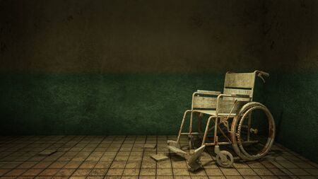 Horror and creepy walk way and wheelchair in front of the examination room in the hospital.3D rendering