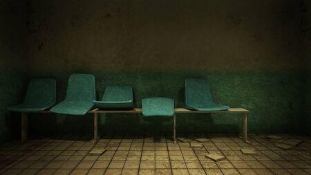 Asiento de terror y espeluznante esperando frente a la sala de examen en el hospital. Representación 3D Foto de archivo