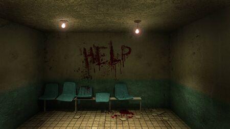 Asiento de terror y espeluznante esperando frente a la sala de examen en el hospital y ayuda a Blood. Representación 3D
