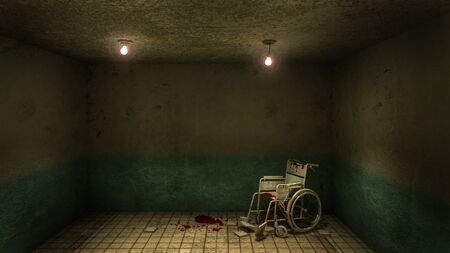 Horror and creepy front of the examination room and wheelchair in the hospital.3D rendering