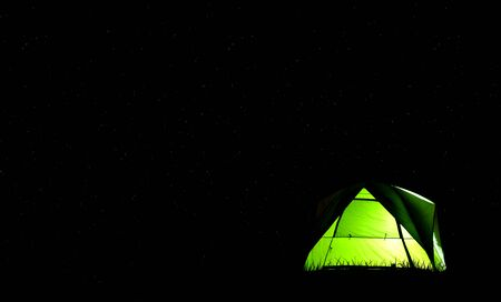 Camping green tent in forest at night and star background