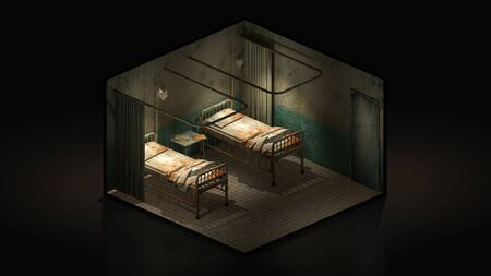 Horror and creepy ward room in the hospital .3d illustration Isomatric.
