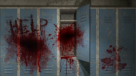 horror and creepy Locker room in the hospital with blood .3D rendering Archivio Fotografico