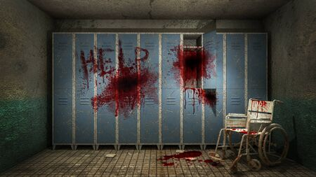 horror and creepy Locker room in the hospital with blood .3D rendering Foto de archivo