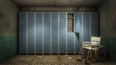 horror and creepy Locker room in the hospital with blood .3D rendering