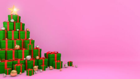 Green gift boxes with red ribbons laid out in the shape of a Christmas tree with pink background., 3D rendering. Stock Photo