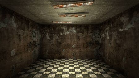 The interior design of horror and creepy damage empty room., 3D rendering. Imagens