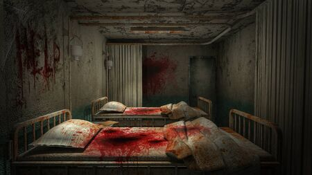 horror and creepy ward room in the hospital with blood .3D rendering Foto de archivo