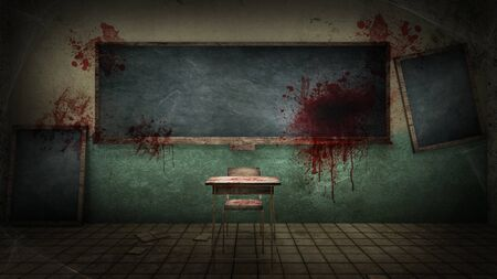 horror and creepy classroom in the school with blood. 3D rendering