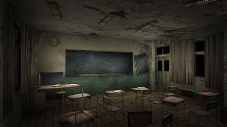 horror and creepy classroom in the school. 3D rendering