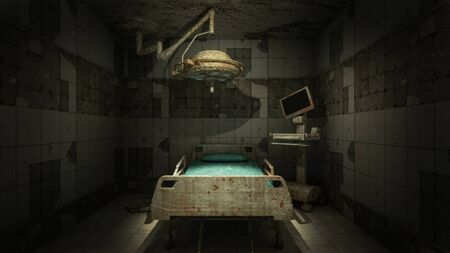 horror and creepy abandoned operating room in the hospital .3D rendering