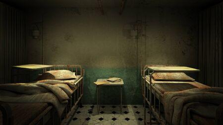 horror and creepy ward room in the hospital .3D rendering Foto de archivo