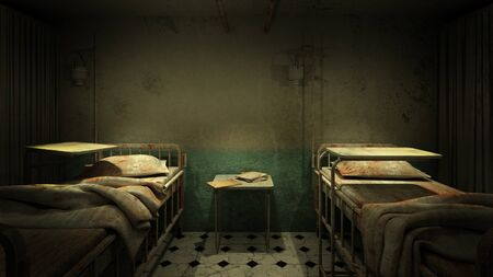 horror and creepy ward room in the hospital .3D rendering Archivio Fotografico