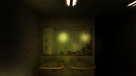 horror and creepy toilet in the hospital .3D rendering Foto de archivo