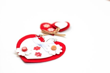 Valentine's day cut red paper heart with white background. ornaments paper cards kraft handmade
